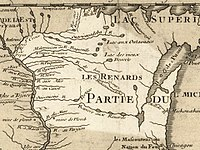 Wisconsin in 1718, Guillaume de L'Isle map, showing the historic portage.