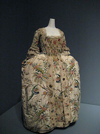Robe à la française 1740s, as seen in one of the exhibits at the Costume Institute