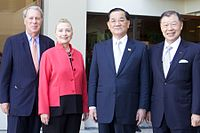 US Secretary of State Hillary Clinton and Taiwan's special envoy to the APEC summit, Lien Chan, November 2011