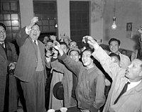 """Taiwanese-born Tangwai (""""independent"""") politician Wu San-lien (second left) celebrates his landslide victory of 65.5% in Taipei City's first mayoral election in January 1951 with supporters"""