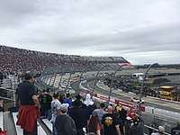 Denny Hamlin leads the field to the green flag at the Drydene 400 at Dover International Speedway in October