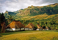 Several bure (one-room Fijian houses) in the village of Navala in the Nausori Highlands