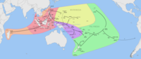 Map showing the migration and expansion of the Austronesians which began at about 3000 BC from Taiwan