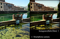 An original photograph (left) is automatically cropped to a square by Instagram, and has a filter added at the selection of the user (right).