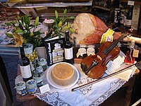Some typical Italian gastronomic products in a window display in Imola.
