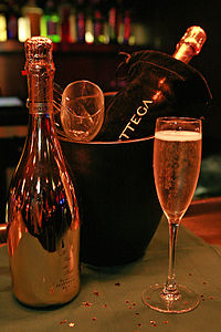 A bottle of sparkling Prosecco, which one would have as an aperitivo