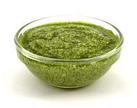 Pesto, a Ligurian sauce made out of basil, olive oil and pine nuts, and which can be eaten with pasta or other dishes such as soup.