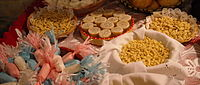 An exhibition of typical Sardinian pasta shapes, cakes, and pastries