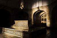 The Emperor's cenotaph is located in a solemn inner chamber.