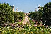 The tomb's gardens are laid out in the Persian Chahar Bagh style.