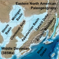 Paleogeographic reconstruction showing the Appalachian Basin area during the Middle Devonian period
