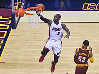 Wade making a lay-up for the Heat in 2015