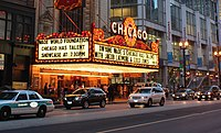 Wade is active in encouraging youth to develop their talents as seen in this talent search at the Chicago Theatre.