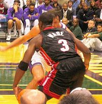 Wade with the ball versus the Milwaukee Bucks in 2005