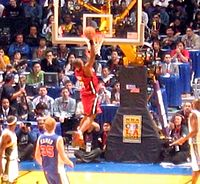 Wade dunking the ball during the 2004 Rookie Challenge game for the Rookies team