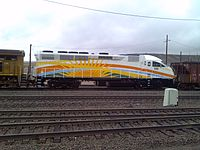 An MPI MP32PH-Q locomotive in SunRail livery in September 2013.