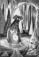 A very large Gollum in Tove Jansson's illustration for the Finnish translation of The Hobbit