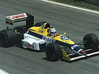Mansell driving a Williams FW12 at the 1988 Canadian Grand Prix