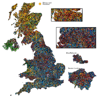 Results of the 2010 general election in the United Kingdom: voting distribution per constituency.