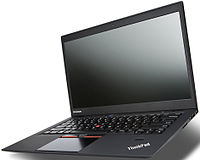 A Lenovo ThinkPad X1 Carbon Ultrabook with extensive use of lightweight and durable carbon fiber technology