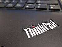 The ThinkPad logo, as seen on the ThinkPad X100e laptop computer. Lenovo purchased the ThinkPad line from IBM in 2005.