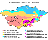 Central Asia map of Köppen climate classification.