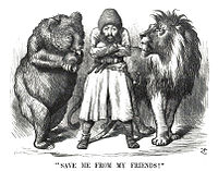 """Political cartoon from the period of the Great Game showing the Afghan Amir Sher Ali with his """"friends"""" Imperial Russia and the United Kingdom (1878)"""