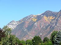A view of the Wasatch Mountains from a Sandy neighborhood.
