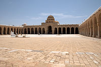 The Great Mosque of Kairouan also known as the Mosque of Uqba was established in 670 by the Arab general and conqueror Uqba ibn Nafi, it is the oldest mosque in the Maghreb, situated in the city of Kairouan, Tunisia.