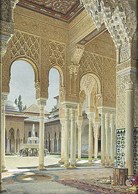 The interiors of the Alhambra in Granada, Spain decorated with arabesque designs.