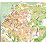 An old map of Odessa's city centre. North is to the left.