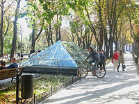 Remains of ancient Greek settlement (under glass roof) on Primorsky Boulevard in Odessa