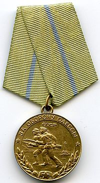"""Obverse of the Soviet campaign medal """"For the Defence of Odessa"""""""