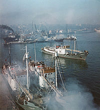 Ships at anchor in Odessa – the USSR's largest port, 1960