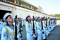 Ukrainian Navy Honour Guards during the Navy Day celebrations in Odessa in 2016.