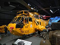 Sea King helicopter flown by Prince William on display at the RAF Museum in London