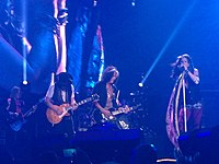 Aerosmith performing on the Blue Army Tour in Grand Rapids, Michigan, on August 4, 2015