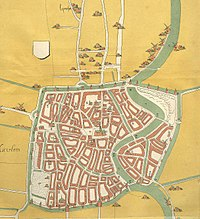 This map of Haarlem, the Netherlands, created around 1550, shows the city completely surrounded by a city wall and defensive canal, with its square shape inspired by Jerusalem.