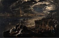 John Martin's The Fall of Babylon (1831), depicting chaos as the Persian army occupies Babylon, also symbolizes the ruin of decadent civilization in modern times. Lightning striking the Babylonian ziggurat (also representing the Tower of Babel) indicates God's judgment against the city.