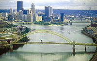 Downtown Pittsburgh sits at the confluence of the Monongahela and Allegheny rivers, which become the Ohio.