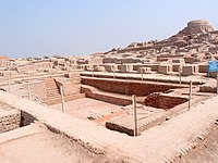 Mohenjo-daro, a city of the Indus Valley Civilization in Pakistan, which was rebuilt six or more times, using bricks of standard size, and adhering to the same grid layout—also in the third millennium BC.