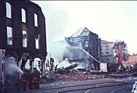 The Dublin Fire Brigade in Dublin, Ireland, quenching a severe fire at a hardware store in 1970