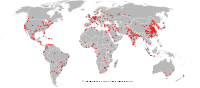 Map showing urban areas with at least one million inhabitants in 2006.