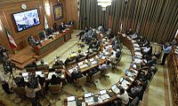 The city council of Tehran meets in September 2015.