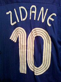 Zidane's France home jersey from the 2006 World Cup. An elite playmaker, he wore number 10 for much of his international career.