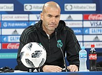 Zidane at a press conference during the 2017 FIFA Club World Cup. As coach of Real Madrid he won the UEFA Champions League an unprecedented three times consecutively (2016, 2017 and 2018).