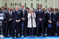 Zidane, with his Real Madrid players, standing to the right of Madrid mayor Manuela Carmena after Real had won their 33rd La Liga title, May 2017