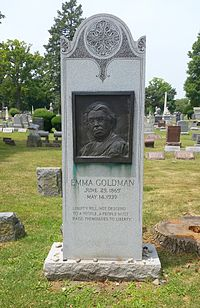 Goldman's grave in Illinois' Forest Home Cemetery, near those of the anarchists executed for the Haymarket affair. The dates on the stone are incorrect.