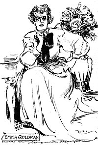 Goldman in 1908, sketched by Marguerite Martyn