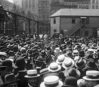 Goldman (shown here in Union Square, New York in 1916) urged unemployed workers to take direct action rather than depend on charity or government aid.